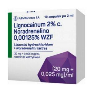 lignocainum 2% c, noradrenalino 10 ampulek x2 ml, Polfa